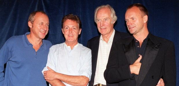Beatles producer George Martin with Paul McCartney